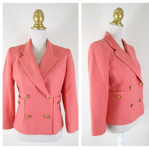 Vintage Neiman Marcus Coral Double Breasted Blazer